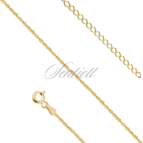 Silver (925) anklet - adjustable size, gold-plated