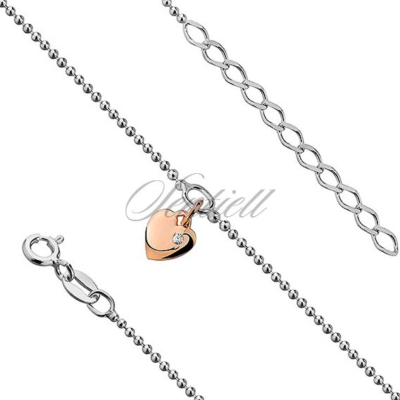 Silver (925) anklet - adjustable size with gold-plated heart and zirconia