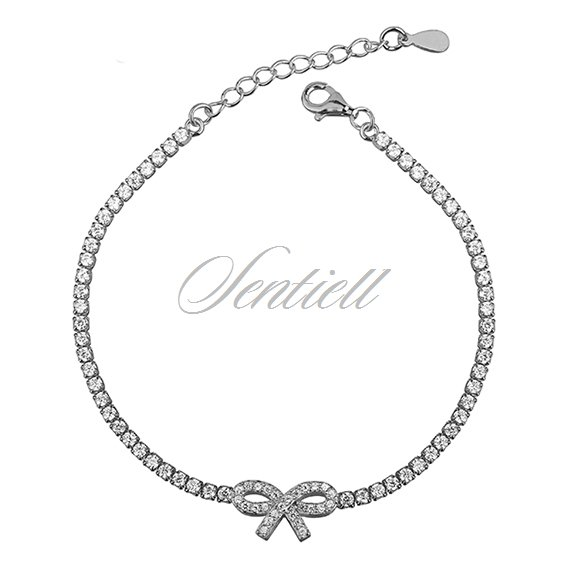 Silver (925) beauty bracelet white zirconia - bow