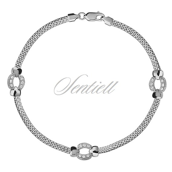 Silver (925) beauty bracelet with white zirconia