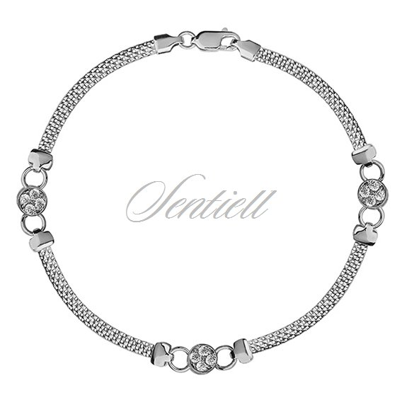 Silver (925) beauty bracelet with white zirconia circles
