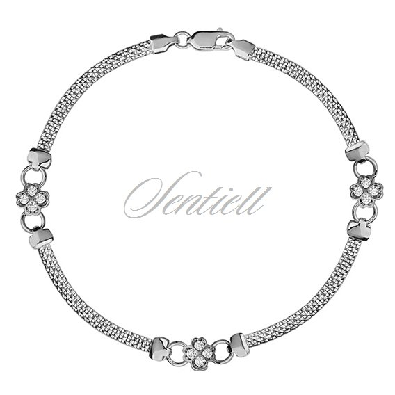 Silver (925) beauty bracelet with white zirconia flowers