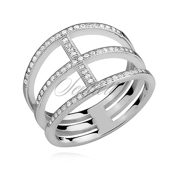 Silver (925) big ring with white zirconia