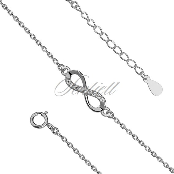 Silver (925) bracelet Infinity with zirconia rhodium-plated