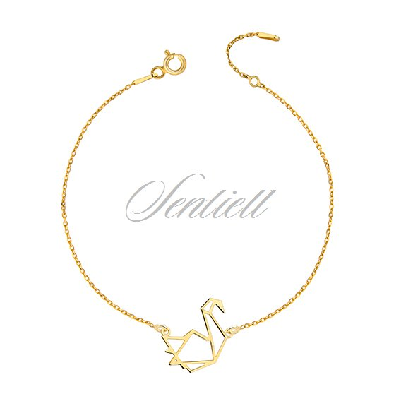Silver (925) bracelet - Origami swan gold-plated