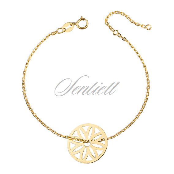 Silver (925) bracelet - circle with openwork flower, gold-plated