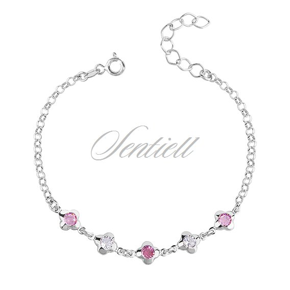 Silver (925) bracelet - flowers with white and pink zirconia