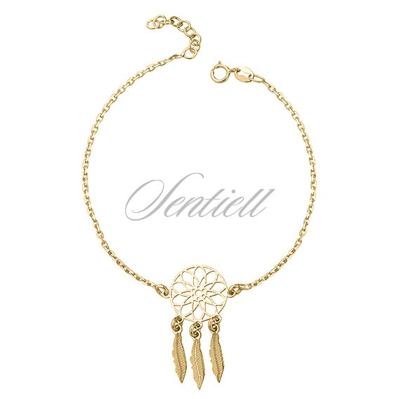 Silver (925) bracelet - gold-plated dreamcatcher