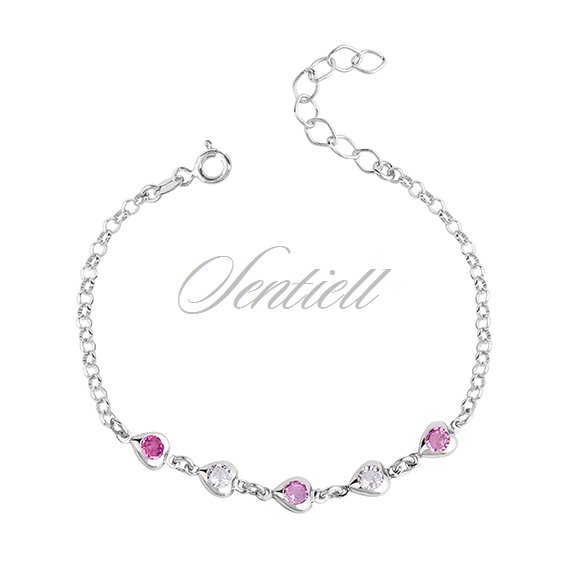Silver (925) bracelet - hearts with white and pink zirconia