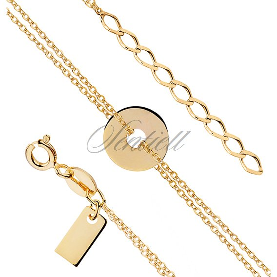 Silver (925) bracelet of celebrities - gold-plated round pendant with double chain