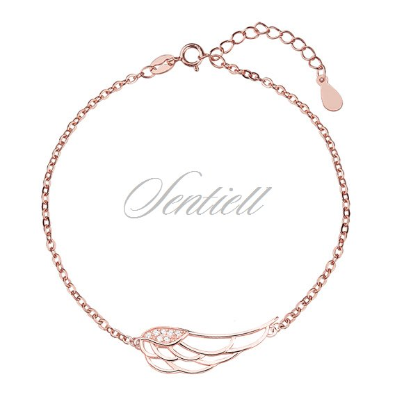 Silver (925) bracelet - wing with zirconia, rose gold-plated