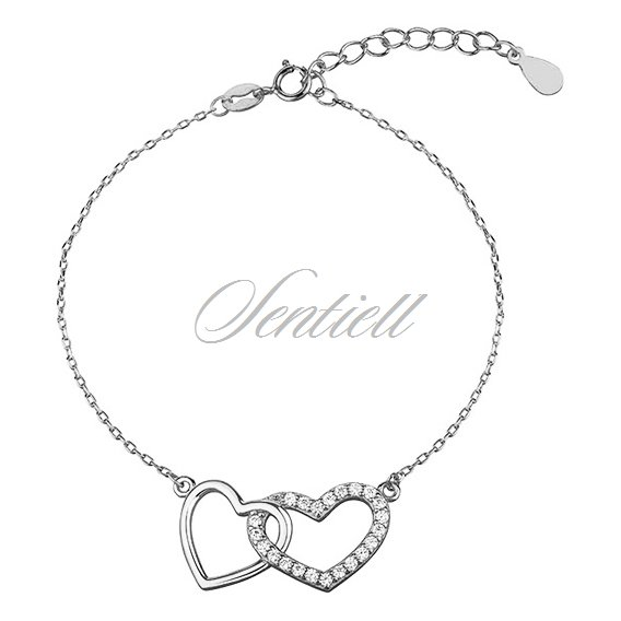 Silver (925) bracelet with compared hearts, zirconia