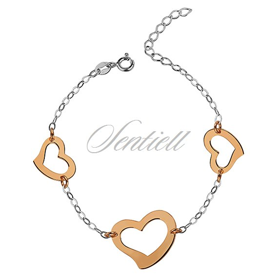 Silver (925) bracelet with gold plated hearts