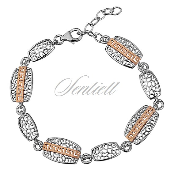 Silver (925) bracelet with gold-plated pattern