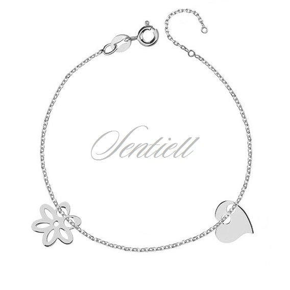 Silver (925) bracelet with heart and flower