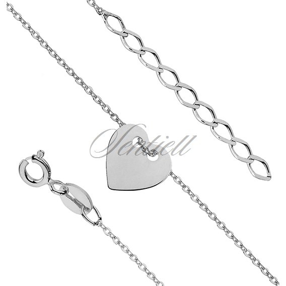 Silver (925) bracelet with heart and the metal tag