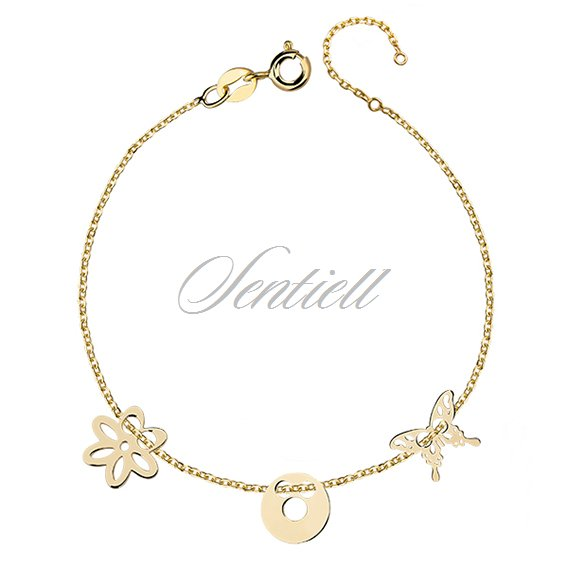 Silver (925) bracelet with open-work buterfly, circle and flower, gold-plated