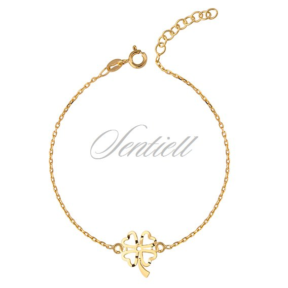 Silver (925) bracelet with open-work clover pendant - gold-plated