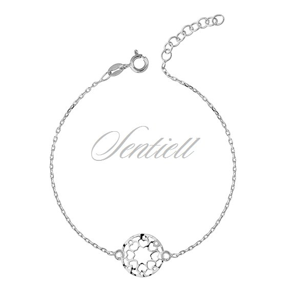 Silver (925) bracelet with open-work pendant - hearts