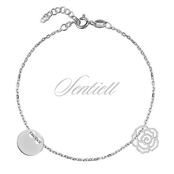 Silver (925) bracelet with round shape pendant and rose
