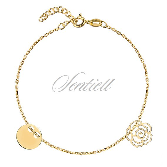 Silver (925) bracelet with round shape pendant and rose, gold-plated