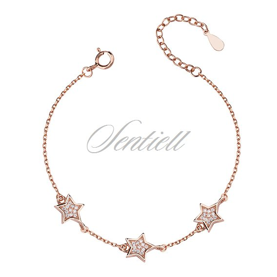 Silver (925) bracelet with stars - rose gold-plated