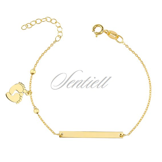 Silver (925) bracelet with tag - little feets, gold-plated