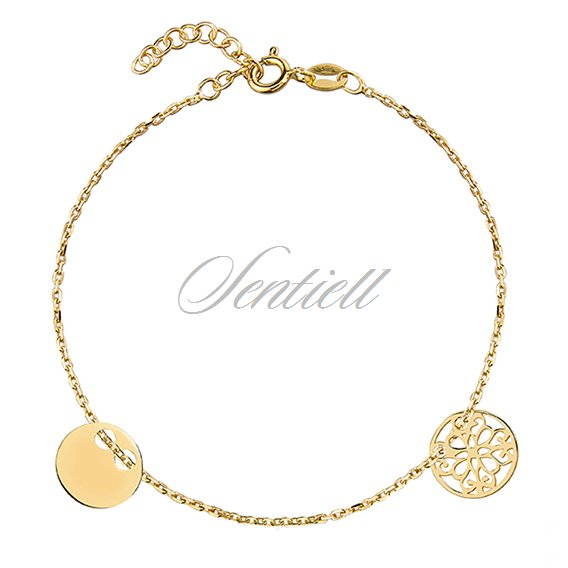 Silver (925) bracelet with two circles, gold-plated
