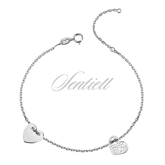 Silver (925) bracelet with two hearts