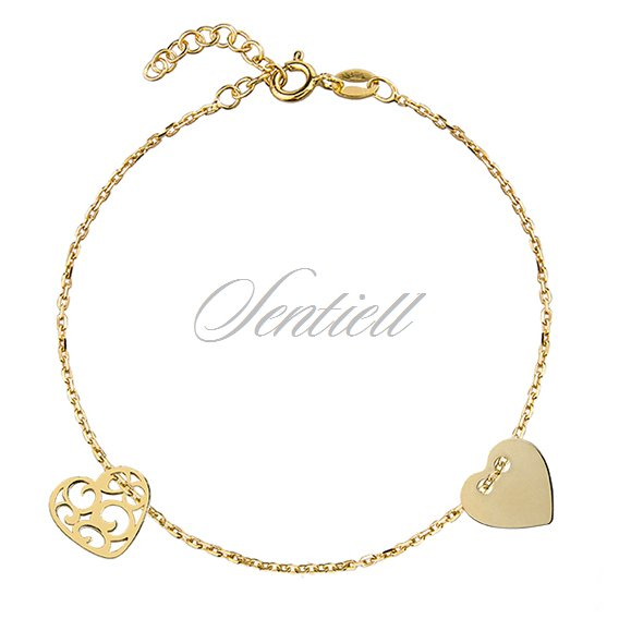 Silver (925) bracelet with two hearts, gold-plated