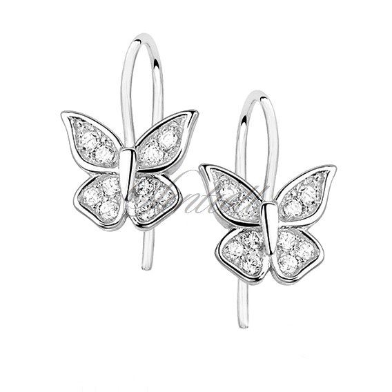 Silver (925) butterfly earrings with zirconia