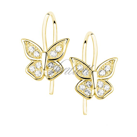 Silver (925) butterfly earrings with zirconia, gold-plated