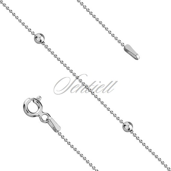 Silver (925) chain with beads rhodium-plated