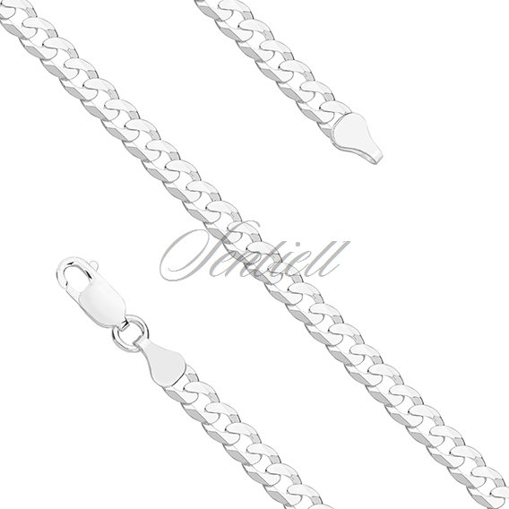 Silver (925) diamond-cut chain - curb extra flat Ø 0140