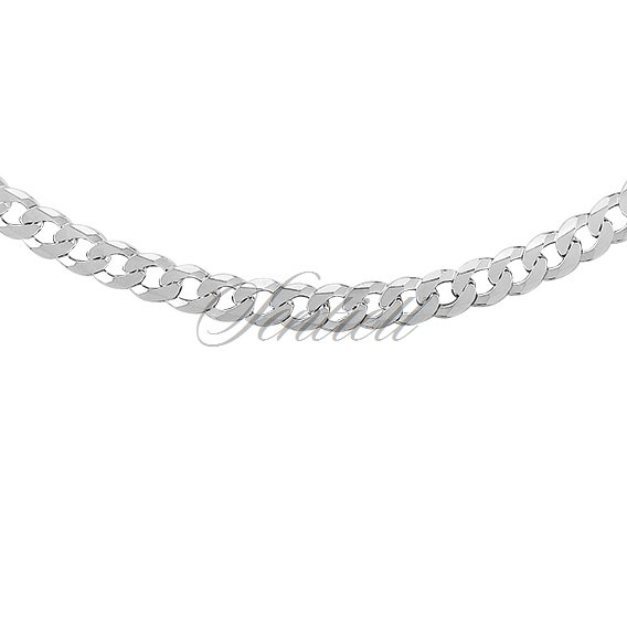 Silver (925) diamond-cut chain - curb extra flat Ø 0140 weight from 17g