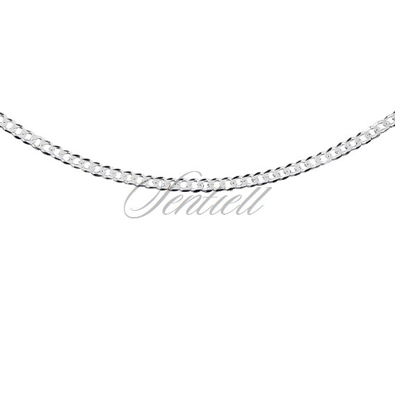 Silver (925) diamond-cut chain - curb extra flat Ø 060 rhodium-plated