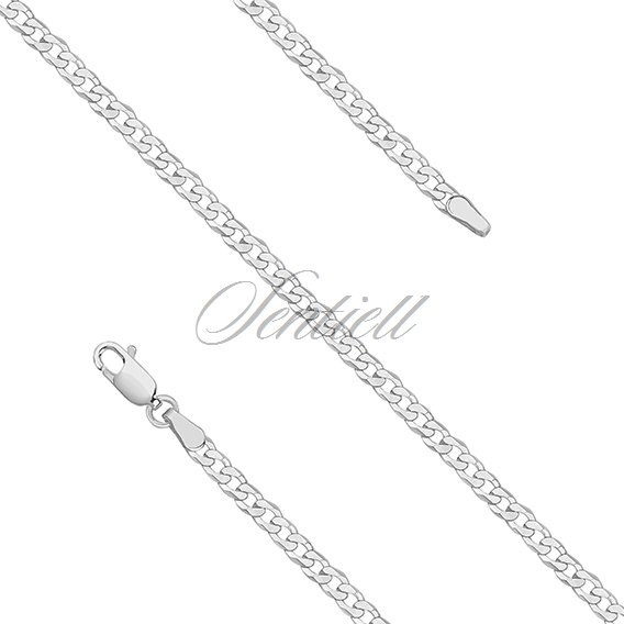 Silver (925) diamond-cut chain - curb extra flat Ø 080