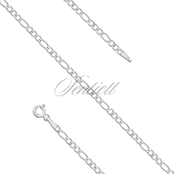 Silver (925) diamond-cut chain - figaro extra flat Ø 060 rhodium-plated