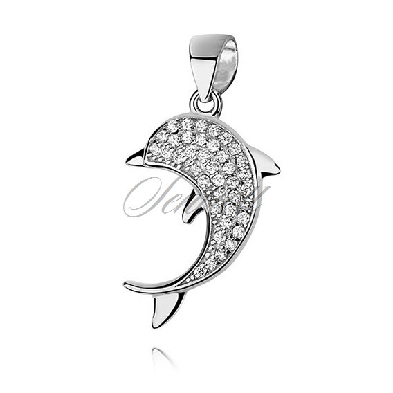 Silver (925) dolphin pendant with zirconia