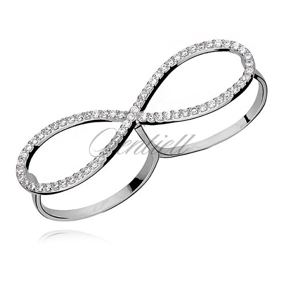 Silver (925) double ring with white zirconia - infinity