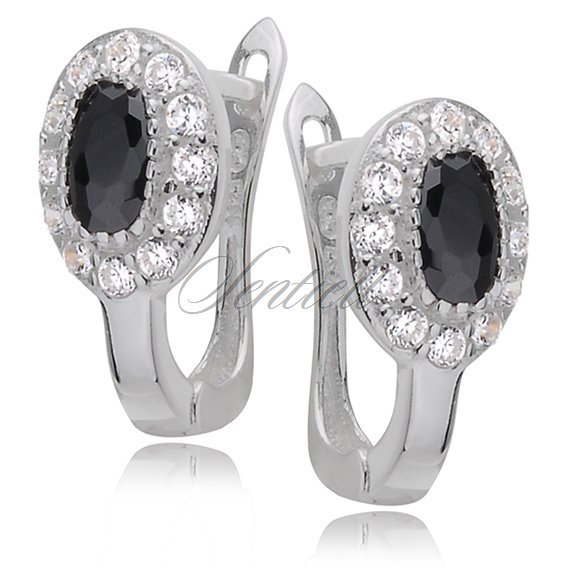 Silver (925) earrings black and white