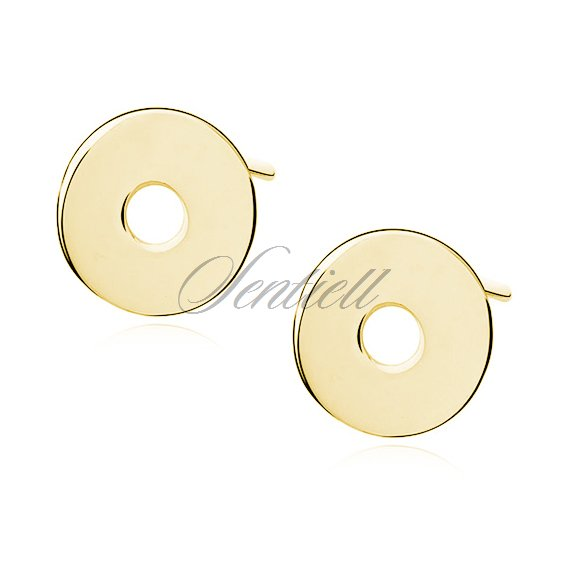 Silver (925) earrings celebrity, gold- plated circles