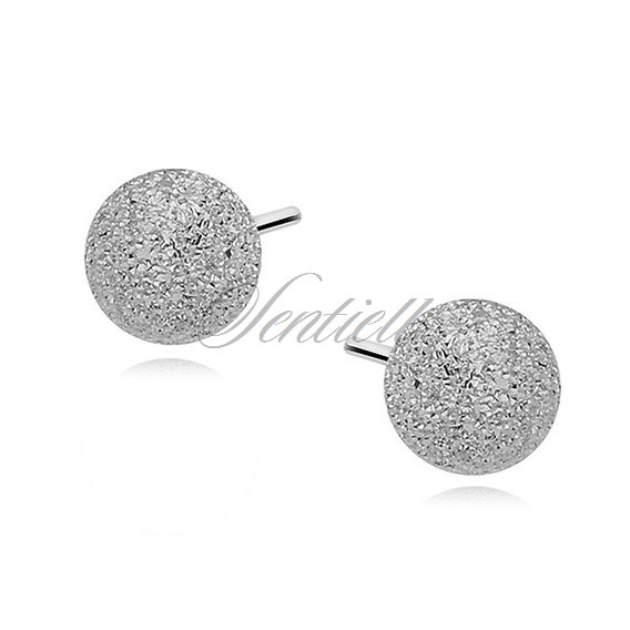 Silver (925) earrings diamond-cut balls 6mm
