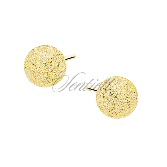 Silver (925) earrings diamond-cut balls - gold-plated 5mm