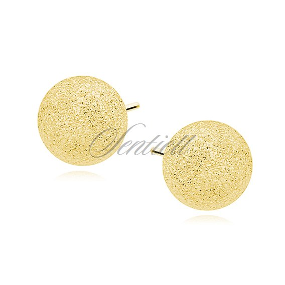 Silver (925) earrings diamond-cut balls - gold-plated 7mm