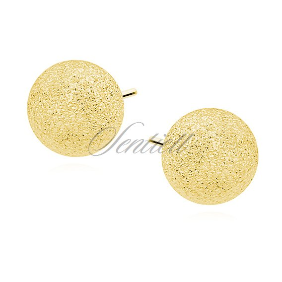 Silver (925) earrings diamond-cut balls - gold-plated 8mm