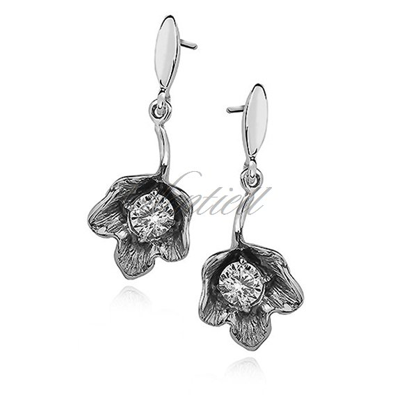 Silver (925) earrings, elegant flowers with zirconia