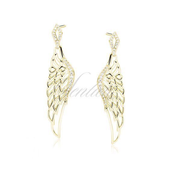 Silver (925) earrings - gold-plated beautiful wings with zirconia
