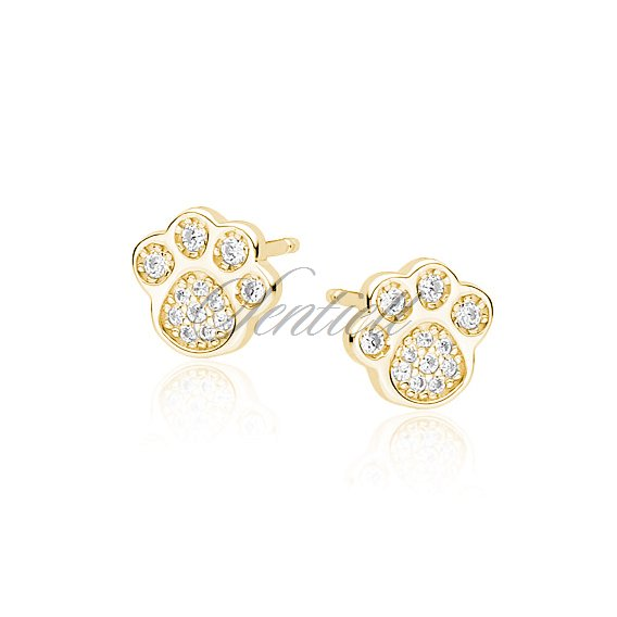 Silver (925) earrings - gold-plated dog / cat paw