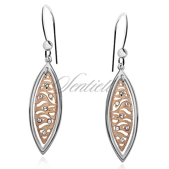 Silver (925) earrings gold-plated zebra pattern with zirconia